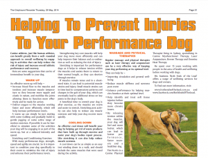 Greyhound Recorder, May 2014 – Helping To Prevent Injuries To Your Performance Dog